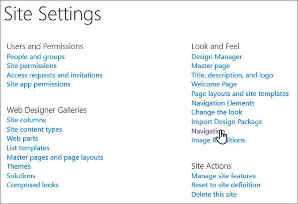 The Site Settings page in classic SharePoint, with the cursor selecting Navigation