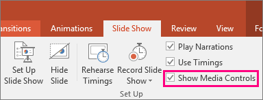 Shows the Show Media Controls option in PowerPoint