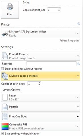 Print multiple pages per sheet