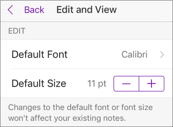 Change font type and size options in Settings in iPhone.
