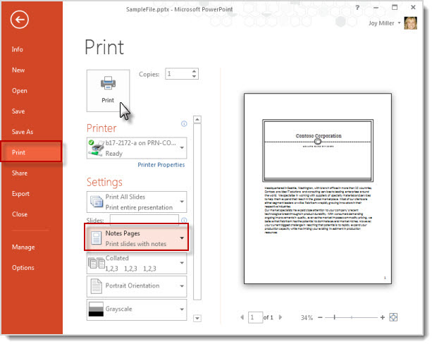 Print your notes pages