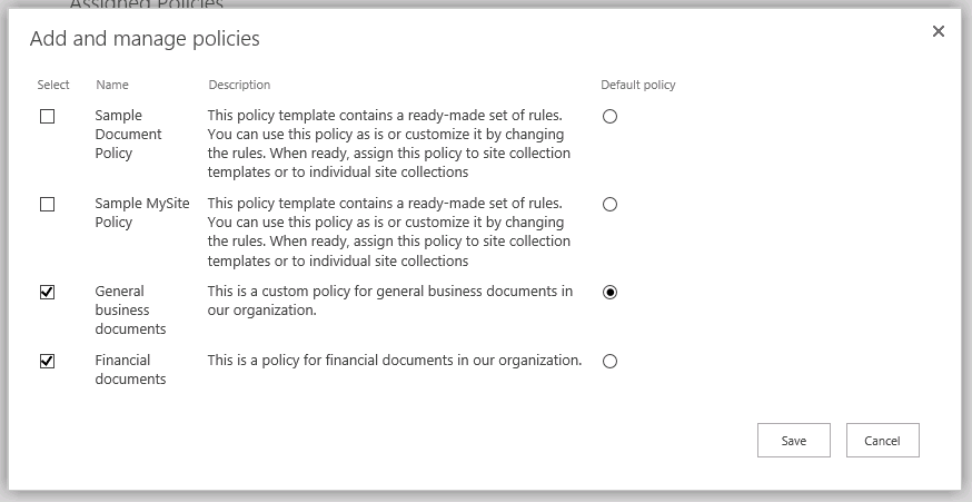 Add and manage policies page