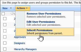 Inherit permissions option on Action menu