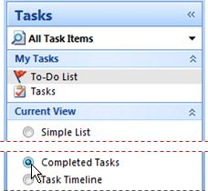 Change task view to show completed items