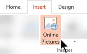 On the toolbar ribbon, select Insert, and then select Online Pictures