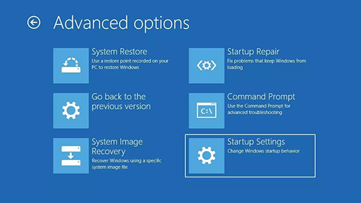 Advanced options screen in the Windows Recovery Environment.
