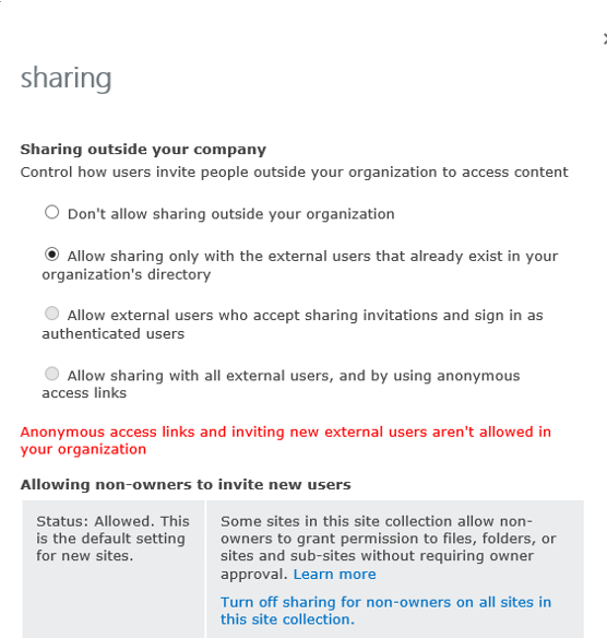 Sharing settings available at the site collection level