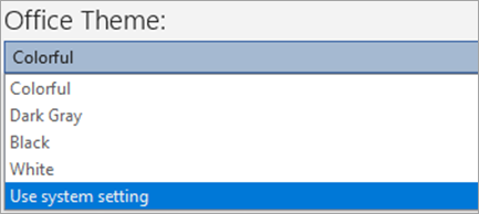 Show's options under Office Themes