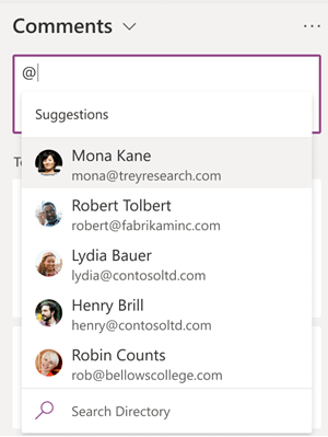 When you type the @ symbol in the Comments box, names of colleagues are suggested to you.