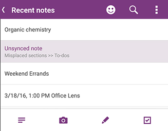 The Recent Notes list in OneNote for Android