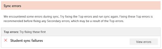 Screenshot of sync errors.