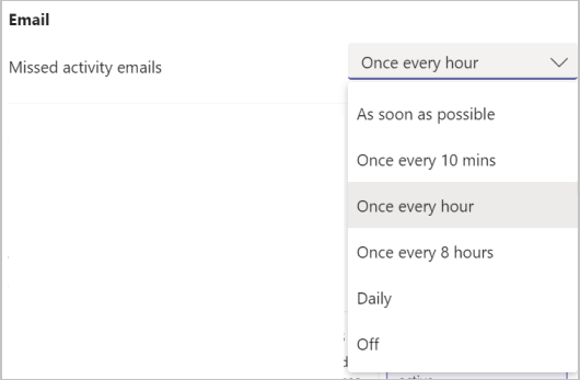 Screenshot of Teams missed activity email notification setting