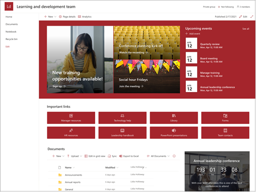 Screenshot of the preview of the Leadership and development team site template