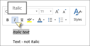 Select text and then click Italic