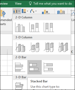 Stacked Bar in Excel 2016