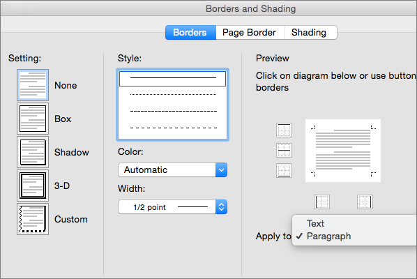 Format borders in word 2016 for mac word for mac the border tab in the borders and shading box is shown ccuart Images