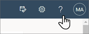 Image of the question mark on the top of the page that opens the help pane