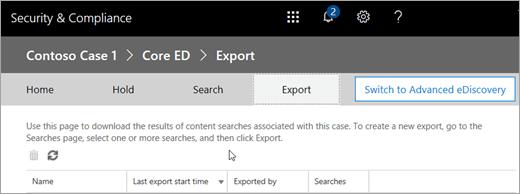 Click Export to display a list of export jobs