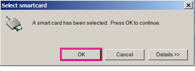 Select smart card dialog box with OK hilited