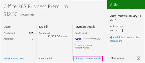 Link to change payment details in the Office 365 admin center.