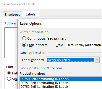 Choosing an Avery-compatible layout in the Label Options dialog box