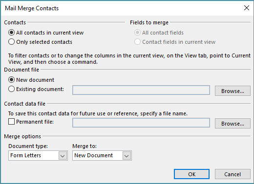 Click Mail Merge on the Home tab of the Contacts folder to start a mail merge