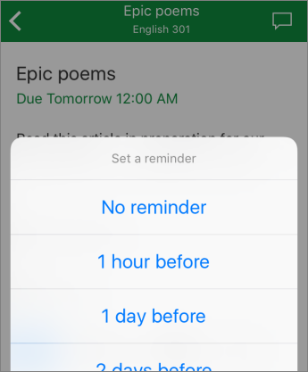 List of reminder settings