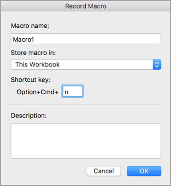 Enter a macro name, location, and shortcut key