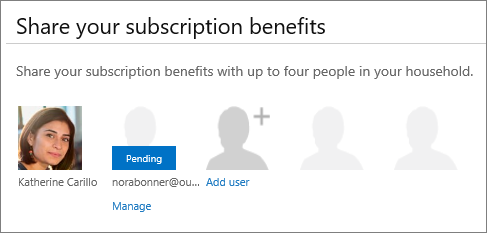 "Screen shot of the ""Share your subscription benefits"" section of the Share Office 365 page that shows a shared user as Pending."