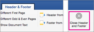 On the Header and Footer tab, Close is highlighted