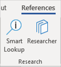 Researcher button in Word