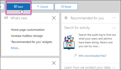 Save button highlighted on the Customize bar on the Security & Compliance Center Home page