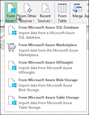 Power Query Import from Azure dialog