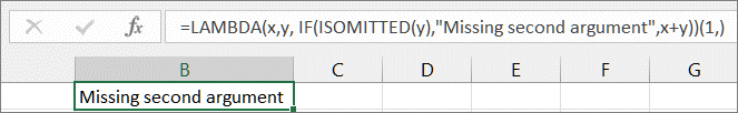 ISMISSING function example