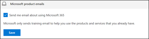 Screenshot: Opt out of receiving Microsoft training in email
