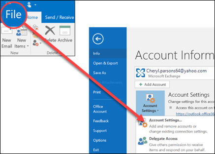 Select Account Settings to delete an account.
