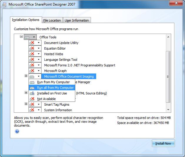 Screenshot displaying the location of MODI duringa SharePoint Designer 2007installation