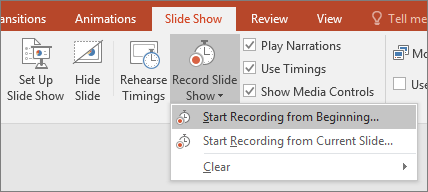 Shows record slide show button in powerpoint