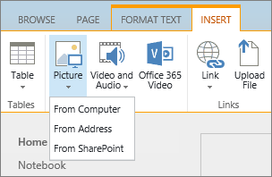 Screenshot of the SharePoint Online ribbon. Select the Insert tab and then select Picture to choose whether to upload a file from your computer, a web address, or a SharePoint location.