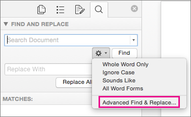 In the Find and Replace box, Advanced Find and Replace is highlighted