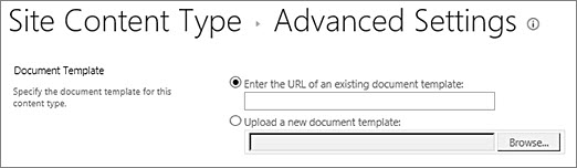 Add Template text boxes on the Advanced Settings page for a content type