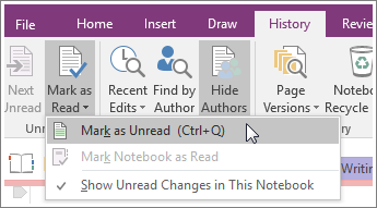 Screenshot of the Mark as Read button in OneNote 2016.