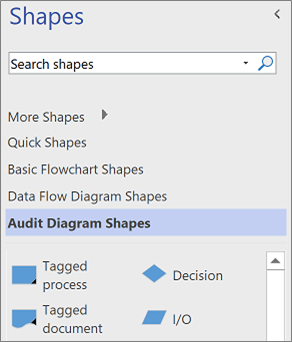 Additional templates in the Shapes pane