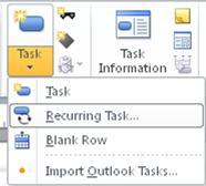 Insert Task menu image.