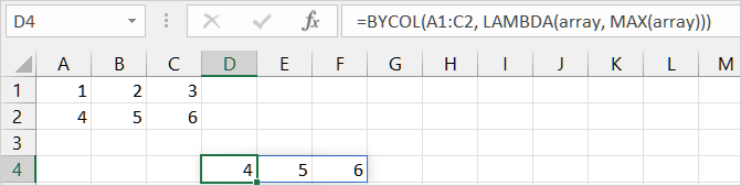 First BYCOL function example