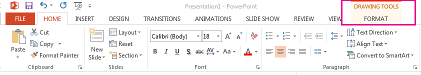 The Format tab appears when you select a shape.