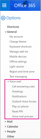 Voice mail options on the Outlook email options pane