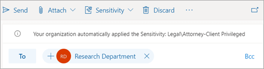 Screenshot of a tip about an automatically applied sensitivity label