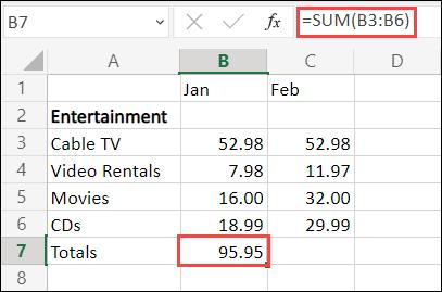 Excel for the Web AutoSum formula