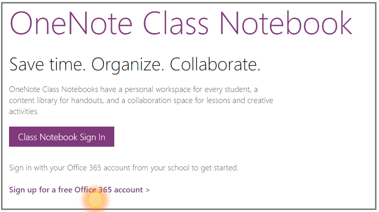 Screenshot of how to get a free Office 365 account.